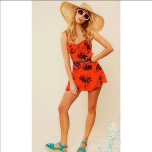 Free People Candy Pin-Up Red Floral Romper